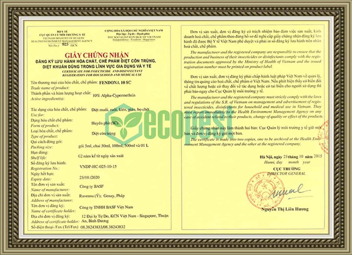 Đăng ký lưu hành Fendona 10SC