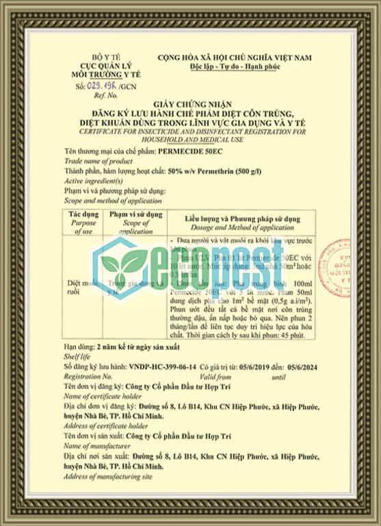 Permecide 50 EC giấy chứng nhận lưu hành