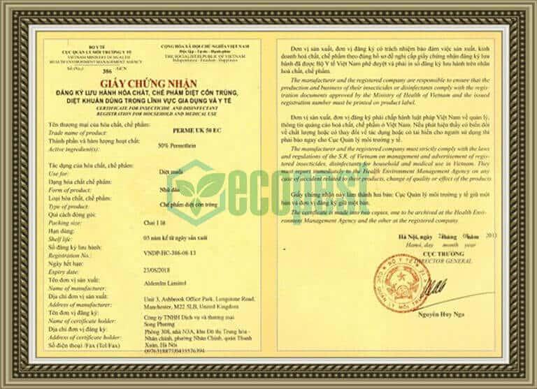 Perme UK 50 EC giấy chứng nhận lưu hành